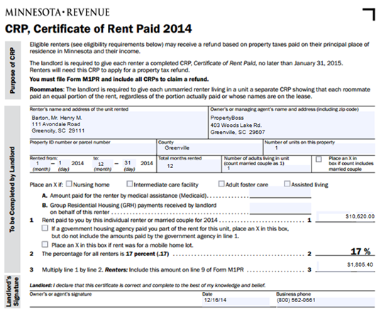 2014 Minnesota CRP – Certificate of Rent Paid | ClientCentral